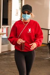 Sofia Richie in Tigts and Red Sweatshirt - Beverly Hills 10/27/2020
