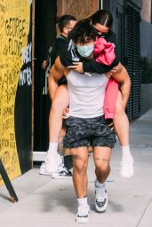 Addison Rae - Piggy Back Ride From Bryce Hall After Workout at Dogpound 11/12/2020