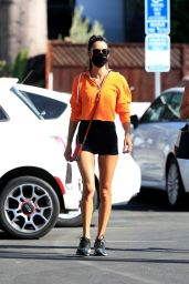 Alessandra Ambrosio in Tiny Black Shorts - West Hollywood 11/04/2020