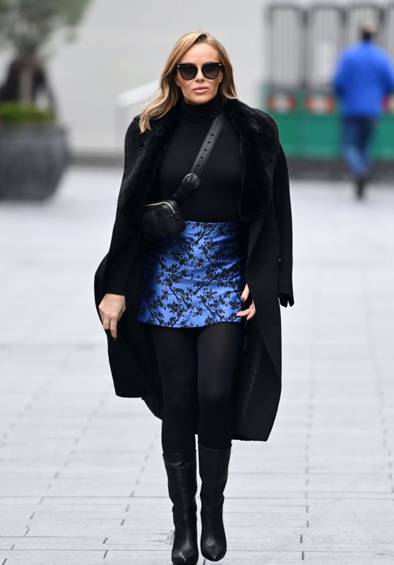 Amanda Holden in a Blue Mini Skirt and Long Black Coat - London 11/24/2020