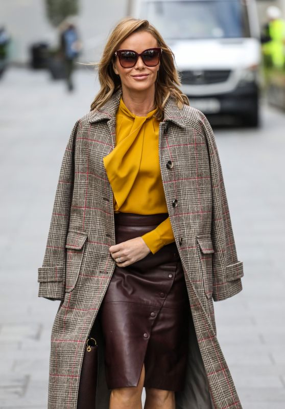 Amanda Holden in Burgundy Leather Dress and Mustard Yellow Top - London 11/23/2020