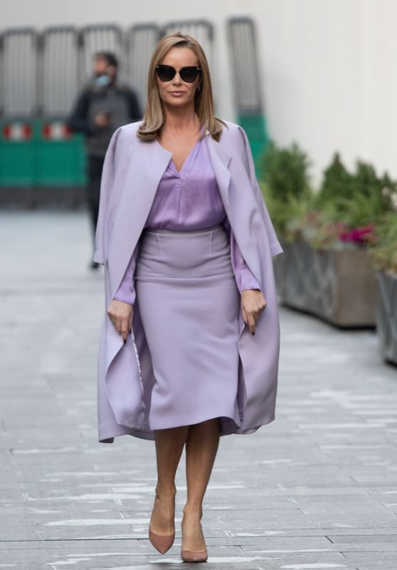 Amanda Holden in Lilac Pencil Skirt, Shirt and Coat - London 11/26/2020