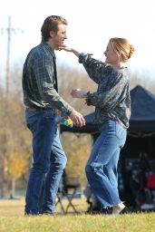 """Anna Paquin - """"Modern Love"""" Filming in Collins Park in Schenectady, NY 11/06/2020"""