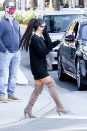 Ariana Grande in a Black Dress and Knee Beige Boots - Beverly Hills 11/14/2020