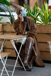Ashley Benson in a Max Mara Brown Wool Coat - NYC 11/16/2020
