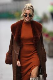 Ashley Roberts in a Brown Dress and Snakeskin Printed Boots - London 11/24/2020