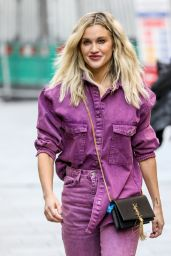 Ashley Roberts in a Purple Denim Shirt and Matching Jeans - London 11/12/2020