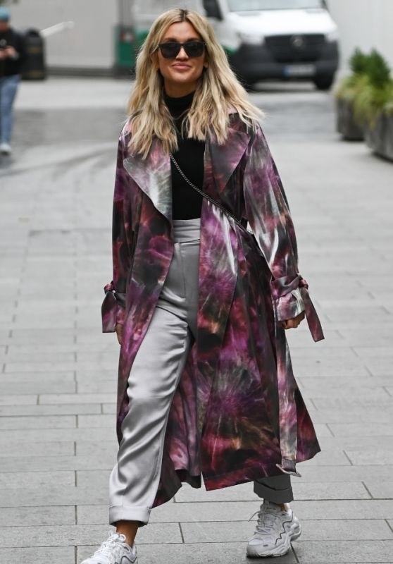Ashley Roberts in a Purple Tie-Dye Coat and Silver Trousers - London 11/30/2020