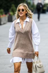 Ashley Roberts in a Shirt Dress and Vest Combo with Knee-High White Heel Boots - London 11/18/2020