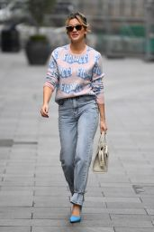 Ashley Roberts in Denim and Print Top at Heart Radio Show in London 11/06/2020