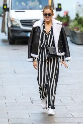 Ashley Roberts in Striped Trousers Out in London 11/23/2020