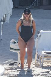 Bebe Rexha in a Black Swimsuit - Cabo 11/04/2020