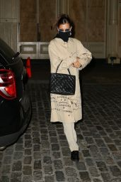 Bella Hadid in a Beige Coach Trench Coat - NYC 11/18/2020
