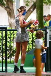 Candice Swanepoel in a Mini Dress - Miami 11/07/2020