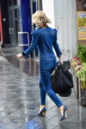 Charlotte Hawkins in Denim Jumpsuit in London 11/13/2020