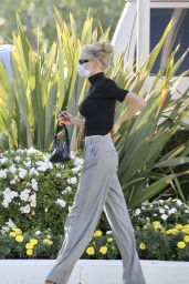 Charlotte McKinney in Flowy Grey Trousers and Mock Neck Sweater - Los Angeles 11/16/2020