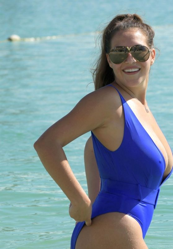 Chloe Goodman in a Blue Swimsuit in Dubai 11/22/2020