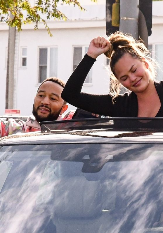 Chrissy Teigen and John Legend – Biden's Victory Parade in West Hollywood 11/07/2020
