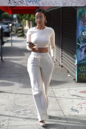 Draya Michele in an All White Ensemble in West Hollywood 11/18/2020