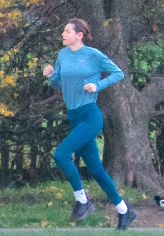 Emma Corrin - Jogging at a Park in London 11/13/2020