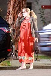 Emma Roberts in a Maxi Orange Dress in Los Feliz 11/14/2020