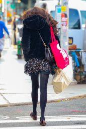 Famke Janssen in a Floral Mini Dress and Black Velvet Jacket - NY 11/03/2020