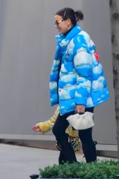 Irina Shayk in a Sky-And-Cloud Print Puffy Jacket in NYC 11/24/2020