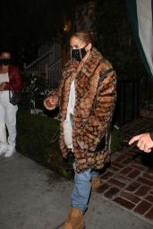 Jennifer Lopez in an Animal Print Coach Coat, Timberland Boots and Denim 11/21/2020