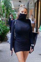 Larsa Pippen in Black Minidress With Integrated Face Mask 11/25/2020