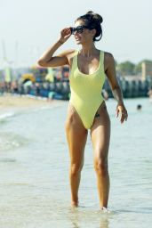 Laura Anderson in a Yellow Swimsuit - Beach in Dubai 10/04/2020