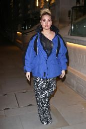 Mabel in a Revealing Mesh Top and Flared Trousers - Soho in London 11/28/2020