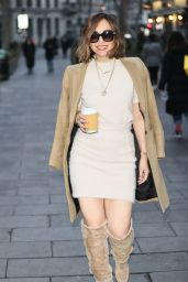 Myleene Klass in Cream Dress and Boots - London 11/28/2020