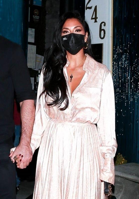 Nicole Scherzinger in a Champagne Silk Dress - Beverly Hills 11/06/2020