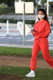 Olivia Munn in Red Tracksuit - Santa Monica 11/24/2020