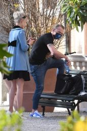 Pom Klementieff With Simon Pegg in Gardens of Venice 11/10/2020