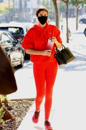 Sara Sampaio in a Red Workout Outfit - West Hollywood 11/18/2020