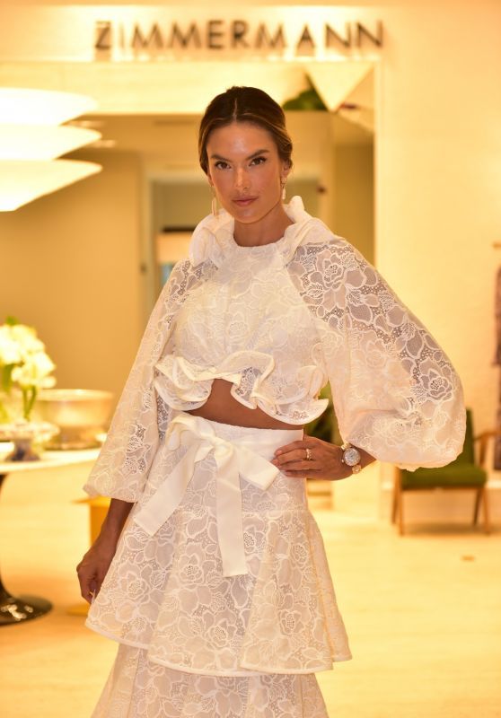 Alessandra Ambrosio in Tiered Lace Gown - Promotes New Zimmermann Store in Sao Paulo 12/08/2020