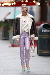 Ashley Roberts in Denim, Printed Top and PVC Trousers - London 12/02/2020