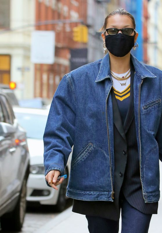 Bella Hadid in a Denim Jacket - New York 12/13/2020