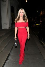 Caprice in a Red Off the Shoulder Jumpsuit - London 12/05/2020