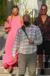 Chrissy Teigen - Shopping at Louis Vuitton and Hermes in Gustavia in St. Barths 12/23/2020