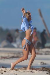 Cindy Prado in a Blue Ruffle-Top Bikini - Tulum 12/23/2020