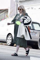 Emma Roberts in a Green Midi Dress - Los Angeles 12/11/2020