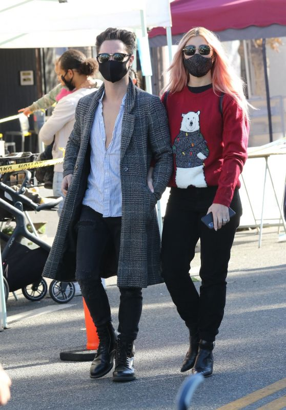 Emma Slater and Sasha Farber at the Local Farmers Market in Los Angeles 12/20/2020