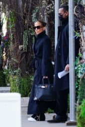 Jennifer Lopez in a Black Coat - NYC 12/10/2020