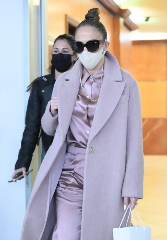 Jennifer Lopez in Pastel Lavender Outfit - Beverly Hills 12/16/2020