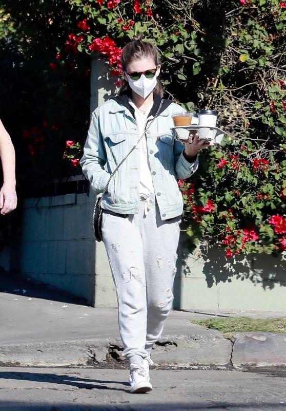 Kate Mara in Grey Sweatpants and a Jean Jacket - Los Feliz 12/20/2020