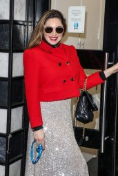 Kelly Brook in a Bright Red Jacket and Sparkly Skirt - London 12/18/2020