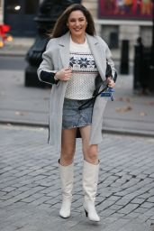 Kelly Brook in Short Denim Mini Skirt and Wool Jumper - London 11/30/2020