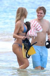 Kimberley Garner in a Blue Bikini at the Beach in Barbados 12/16/2020